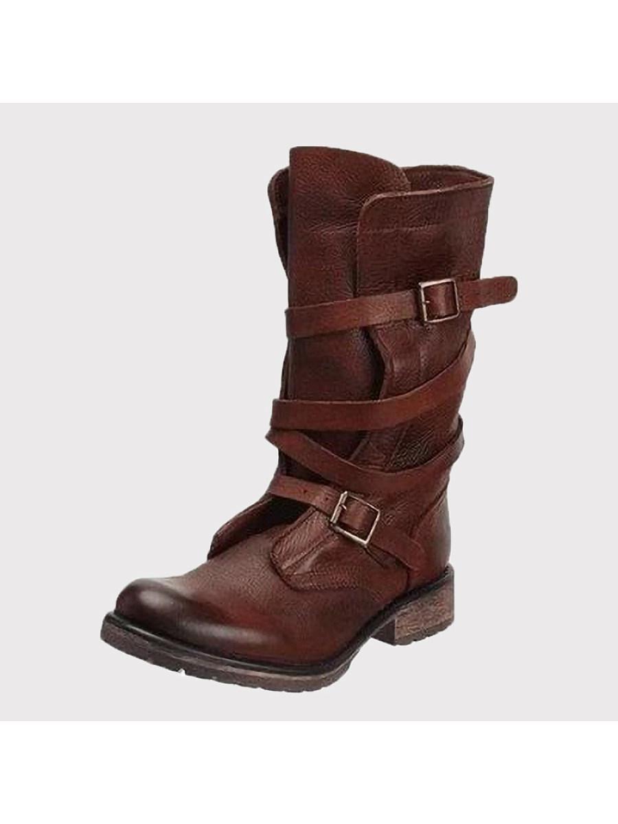 BerryLook Comfortable thick heel low heel belt buckle mid tube women's boots