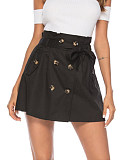 Fashionable Casual Skirt Double-Breasted Fake Pocket Lace Skirt