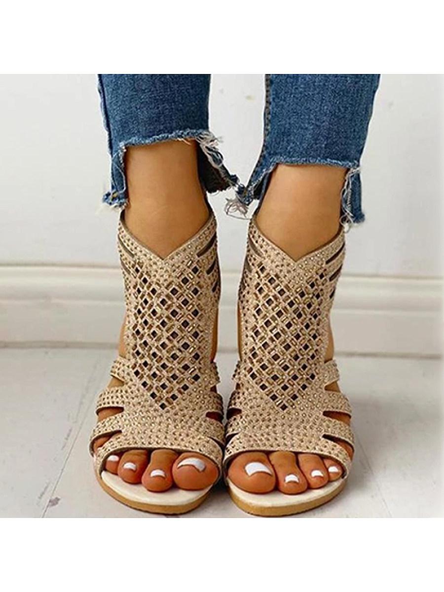Hollow Fashion Flat Heel Sandals