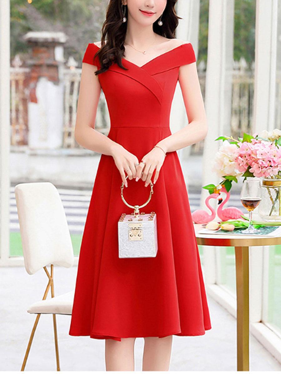 BerryLook New slim temperament solid color dress