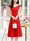 New slim temperament solid color dress