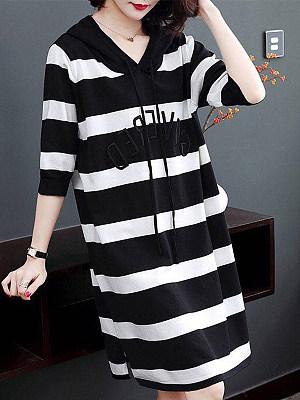 Women's Round Neck Striped Midi Dress, 10654856