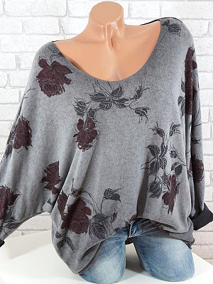 Round Neck Patchwork Floral Printed Long Sleeve T-Shirt, 10730806