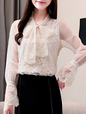 V Neck Elegant Lace Long Sleeve Blouse, 11315637