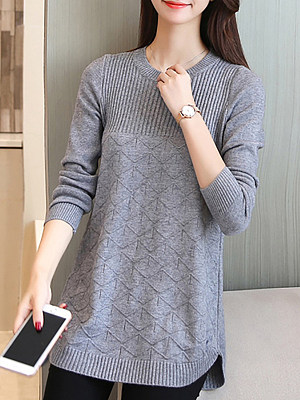 Round Neck Plain Long Sleeve Knit Pullover, 10683583