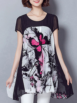 Round Neck Printed Short Sleeve Blouse, 11269018
