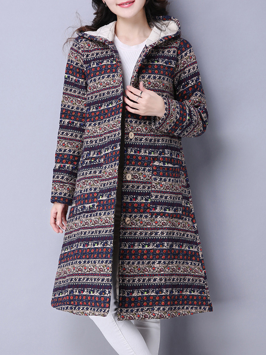 Women's Fashion National Style Printed Long Coat - from $31.95