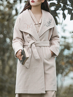 Women's Vintage Embroidered Thick Solid Coor Overcoat gender:female, season:autumn,winter,spring, collar:lapel collar, texture:woolen, pattern_type:embroidery, sleeve_length:long sleeve, sleeve_type:regular sleeve, style:japan and south korea, dress_occasion:daily, bust:118,clothing length:96,shoulder width:60,sleeve length:50,
