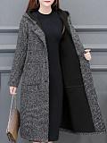 Image of Temperament Hooded Plus Size Woolen Coat