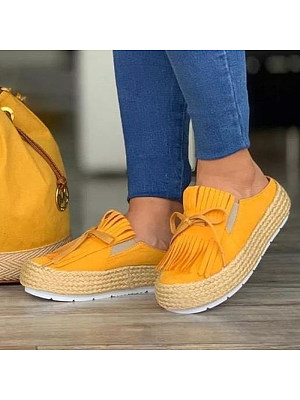 Women's thick bottom tassel slippers фото