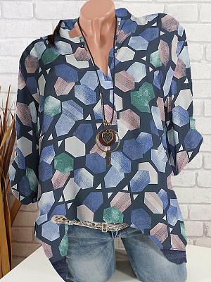 V Neck Printed Long Sleeve Blouse, 11261997