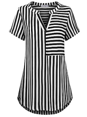 V Neck Striped Short Sleeve Blouse, 11582436