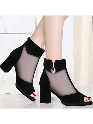 Sexy ladies peep-toe mesh stitching mid-heel single shoes фото