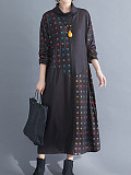 Image of Loose Color Block High Neck Long Sleeve Dress