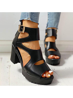 Women's thick bottom Roman fish mouth sandals, 23856902