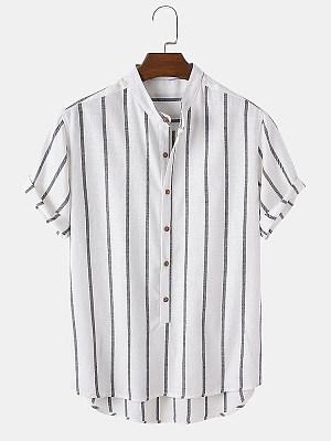 Berrylook coupon: Mens Cotton Striped half Cardigan Casual Shirt