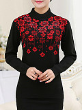 Image of Half High Collar Floral Long Sleeve Knit Pullover