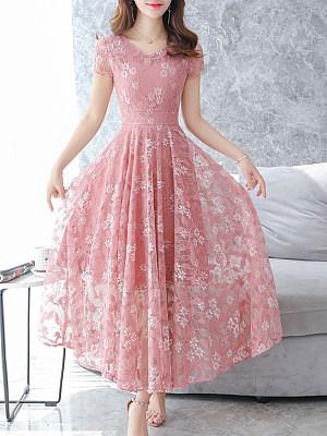 V-Neck Plain Maxi Dress фото