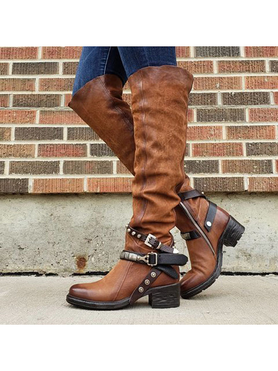 Women's casual rivet belt buckle decorative boots - from $36.95