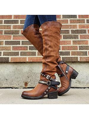 Women's casual rivet belt buckle decorative boots, 10469431