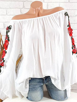 Shoulder Collal Floral Embroidered Bell Sleeve Blouse, 10742312