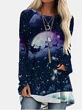 Image of Fashion casual long sleeve round neck irregular lady T-shirt