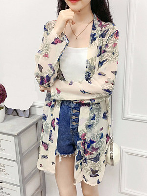 Butterfly Printed Long Sleeve Cardigan