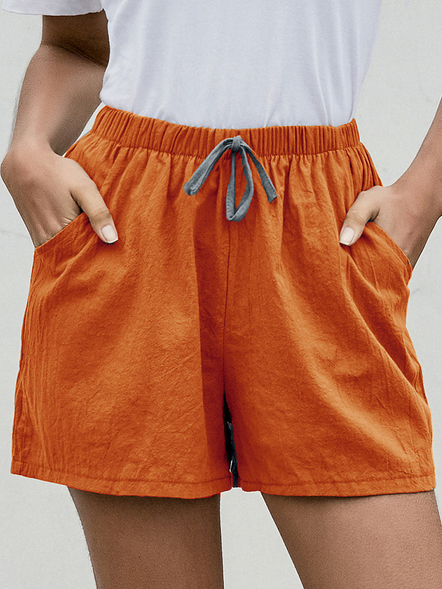 Summer solid color loose shorts