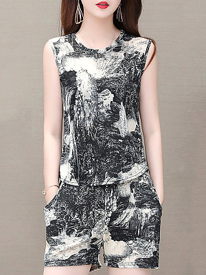 Round Neck Printed Sleeveless T-shirt And Bottom Suit, 11286915