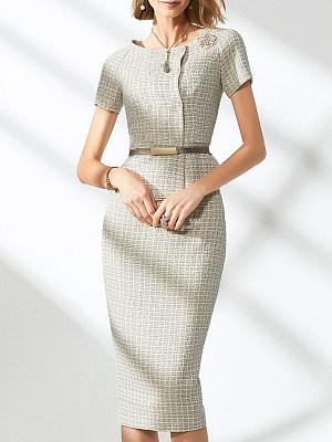 Round Neck Flounce Plain Bodycon Dress, 11372706