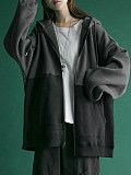 Image of Sweater autumn and winter plus velvet thick loose zipper sports cardigan
