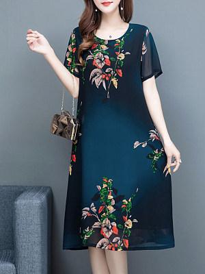 Berrylook coupon: Round Neck Printed Short Sleeve Midi Shift Dress