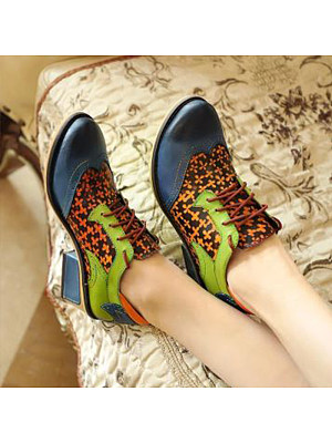 Women's Vintage Color Matching Lace-up High Heels, 10748774