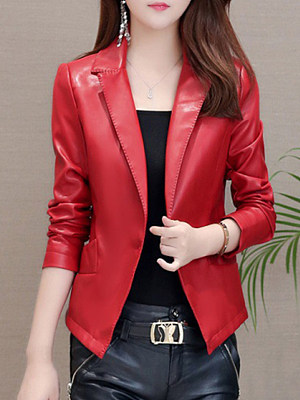 Stylish Lapel Collar Slim Leather Jacket фото