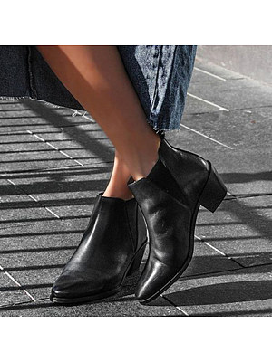 Contracted ladies elastic band pure color mid-heel ankle boots, 11004459