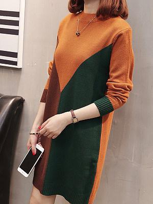 Women's Fashion Colorblock Dress, 10655639