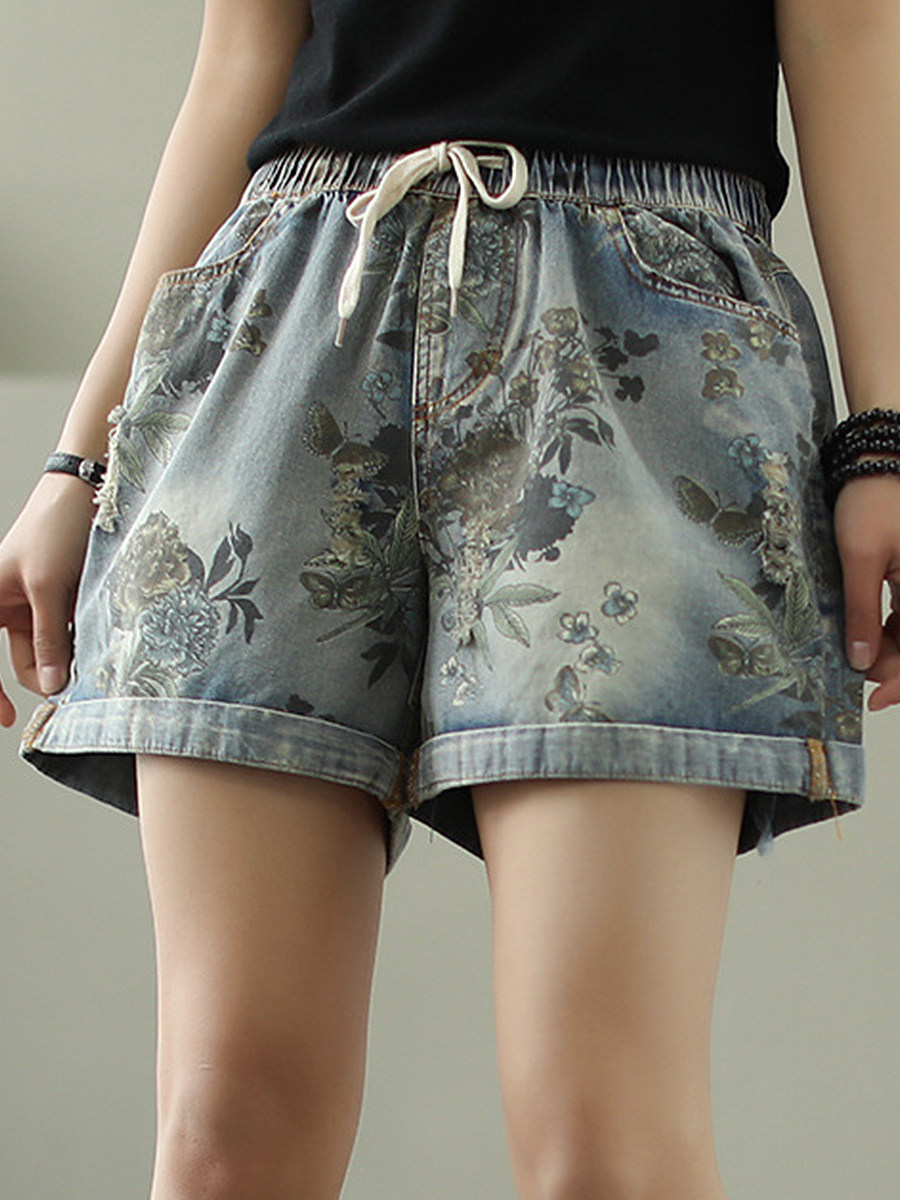BerryLook Fashion print lace-up wide-leg shorts