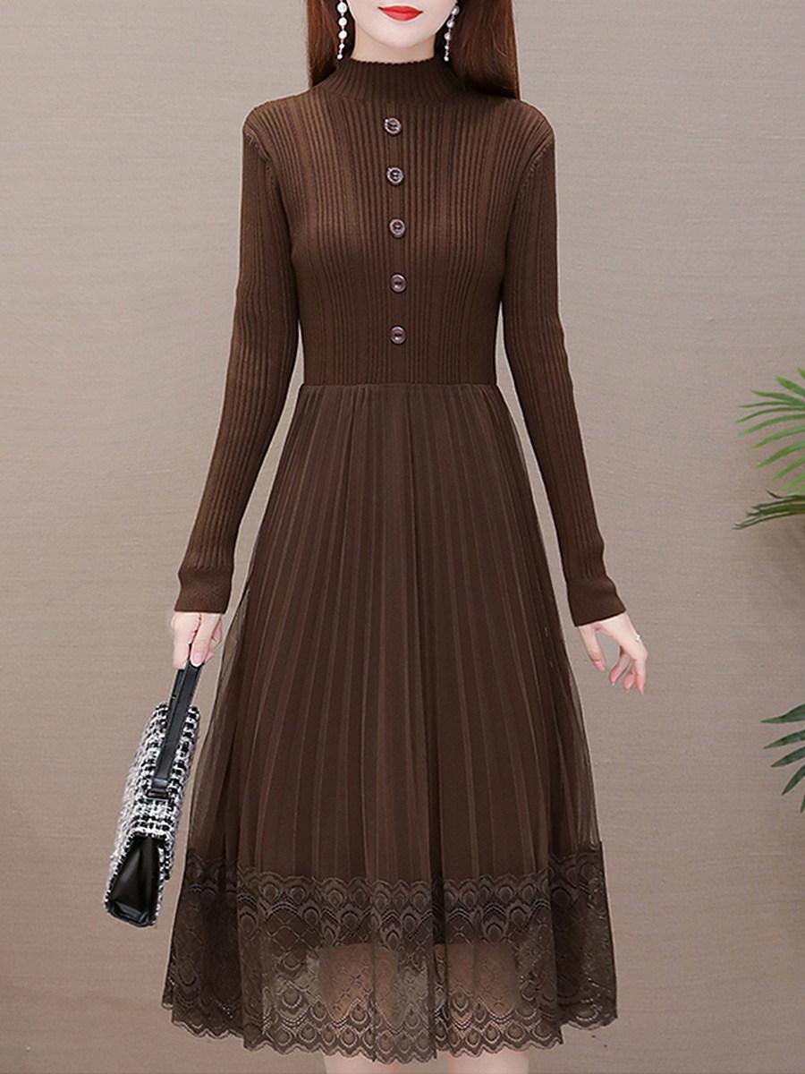 Temperament Waist Lace Maxi Dress