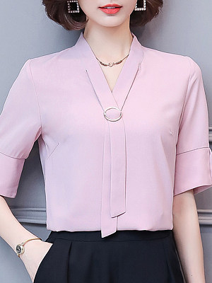 V Neck Elegant Plain Short Sleeve Blouse, 11270508