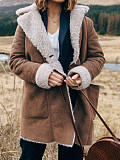 Image of Lapel Long Sleeve Plush Jacket