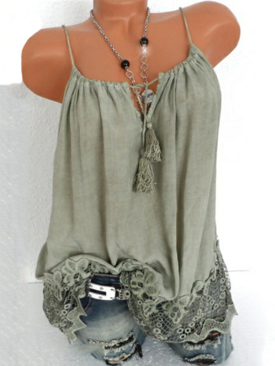BerryLook Patchwork Lace Plain Sleeveless T-shirt