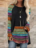 Image of Fashion ethnic print casual T-shirt