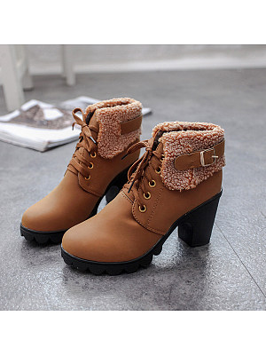 BERRYLOOK Women's Comfortable Thick Heel Boots