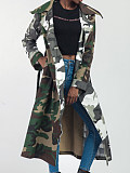 Image of Color Block Camouflage Trench Coat