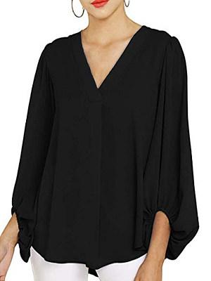 V Neck Plain Long Sleeve Blouse, 11551586