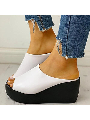 Wedge heel fashion casual wild female sandals and slippers фото