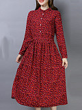 Image of Floral Print Long Sleeve Round Neck Dress