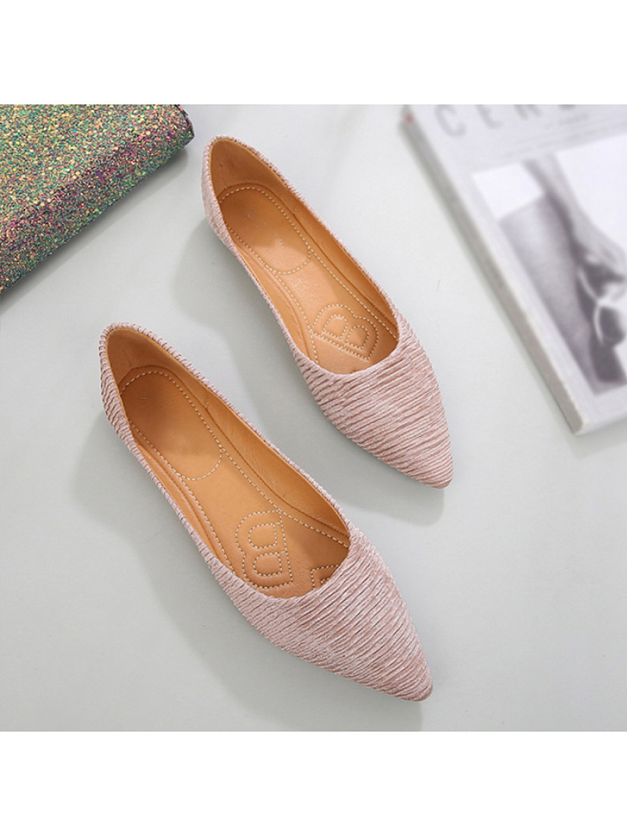 Brief Women Pointed Toe Pleated Plain Flats