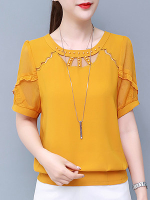 Round Neck Patchwork Beading Plain Short Sleeve Blouse, 11209299