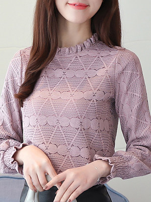 Band Collar Plain Lace Long Sleeve Blouse, 11276761